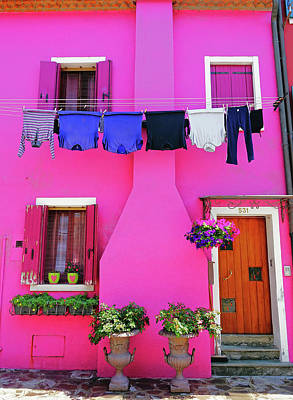 Photograph - A Brightly Colored House On The Island Of Burano, Italy  by Richard Rosenshein