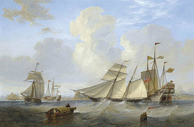 Painting - A British Opium Schooner And Other Shipping Off Hong Kong by James Wilson Carmichael