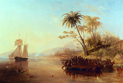 Boats In Water Painting - A British Surveying Ship In The South Pacific Greeted By Islanders by John Wilson Carmichael