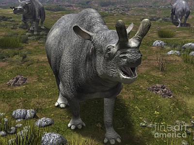 A Brontotherium Leaves His Forest Art Print by Walter Myers