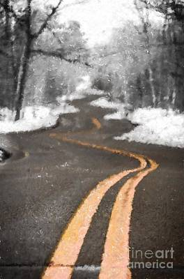 Digital Art - A Brush With Winter On A Winding Road by Mark David Zahn