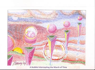 Drawing - A Bubble Intercepting The March Of Time by Rod Ismay