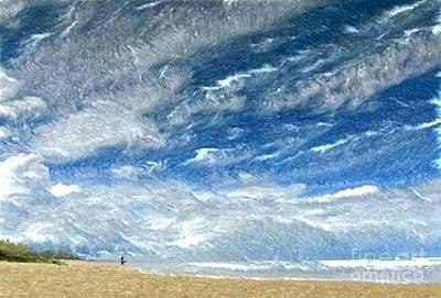 Pastel - A Buffeting On The Beach by Wu Wei