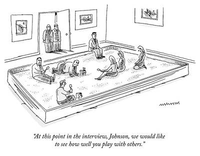 Interview Drawing - A Bunch Of Adults In Business Clothes Play by Mick Stevens