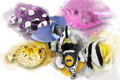 Triggerfish Digital Art - A Bunch Of Colorful Fish No 01 by iMia dEsigN