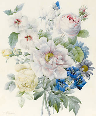 Gentian Painting - A Bunch Of Flowers by Pierre Joseph Redoute