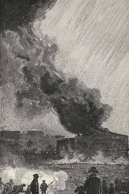 Oil Drawing - A Burning Oil Tank Capacity 3500 by Vintage Design Pics