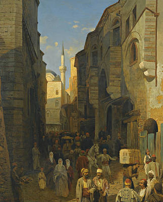 Painting - A Busy Street In Tangiers by Themistocles von Eckenbrecher