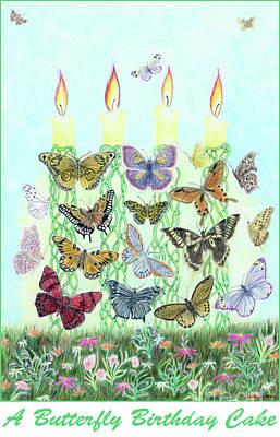Painting - A Butterfly Birthday Cake by Lise Winne