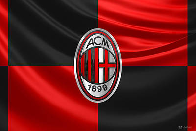 Digital Art - A. C. Milan - 3 D Badge Over Flag by Serge Averbukh