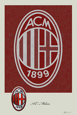 A. C. Milan - 3 D Badge Over Vintage Logo Original