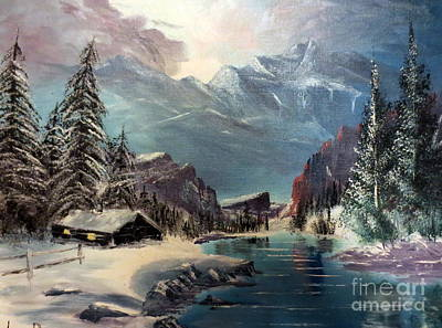 Painting - A Cabin In The Rocky Mountains by Lee Piper