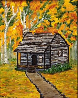Back Porch Painting - A Cabin In The Woods by Mandy Harpt