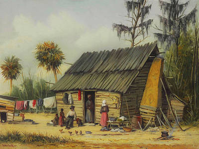 Negro Painting - A Cabin Scene With Washing On The Fence by William Walker