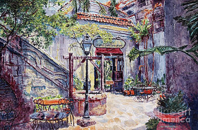 Painting - Cafe By The Hotel, Intramuros, Manila by Joey Agbayani