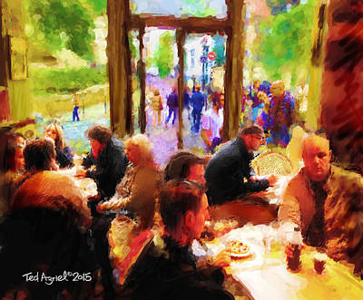 Painting - A Cafe In Monmarte by Ted Azriel