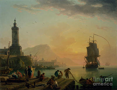 1770 Painting - A Calm At A Mediterranean Port by Celestial Images