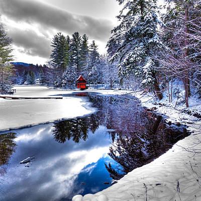 Boathouse Photograph - A Calm Winter Scene by David Patterson