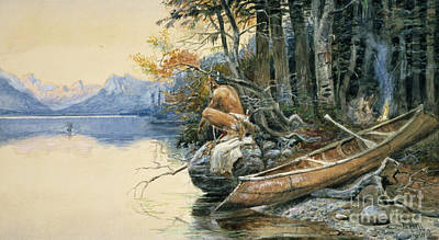 Canoes Drawing - A Camp Site By The Lake by Charles Marion Russell