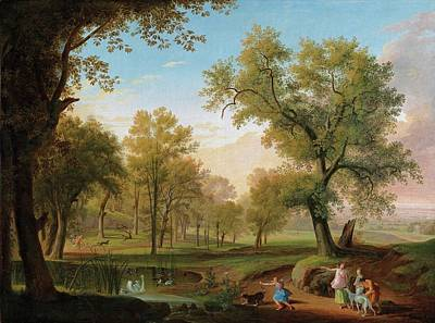 Hunt Painting - A Campagna Landscape With Diana And Her Nymphs At The Hunt by Ludwig Philipp Strack