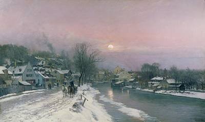 Snow Scene Painting - A Canal Scene In Winter  by Anders Anderson Lundby
