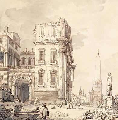 Palace Drawing - A Capriccio Of A Venetian Palace Overlooking A Piazza With An Obelisk by Canaletto