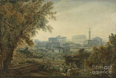 Painting - A Capriccio Of Roman Architecture With Trajan's Column by Celestial Images