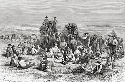 A Caravan Of Neophyte Mormons Camping Art Print
