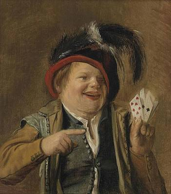 Card Players Painting - A Card Player  by Celestial Images