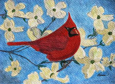 A Cardinal Spring Art Print by Angela Davies