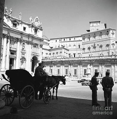 Vatican Photograph - A Carriage And Police At Vatican City, Rome, 1955 by The Harrington Collection