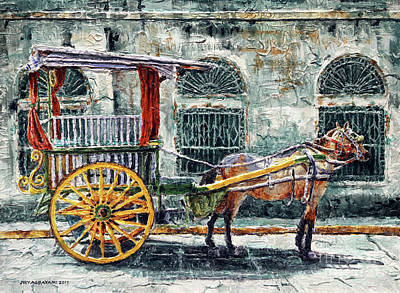 Painting - A Carriage In Intramuros, Manila by Joey Agbayani