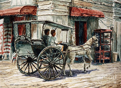 Painting - A Carriage On Crisologo Street by Joey Agbayani