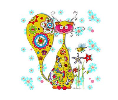 Funny Cat Digital Art - A Cat And A Little Bee by Isabel Salvador