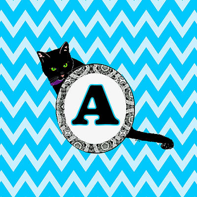 Cat Digital Art - A Cat Chevron Monogram by Paintings by Gretzky