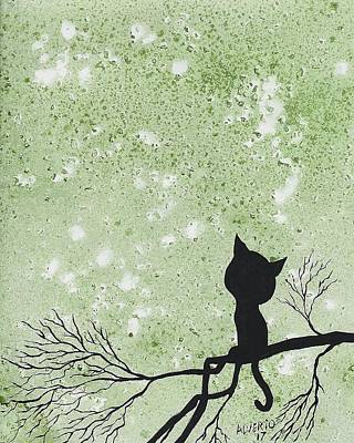 Painting - A Cat In A Tree by Edwin Alverio