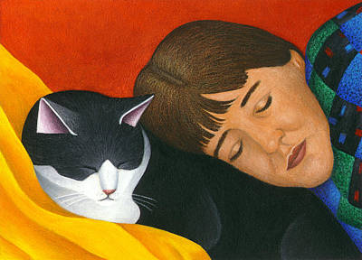A Cat Is A Furry Pillow Art Print by Carol Wilson