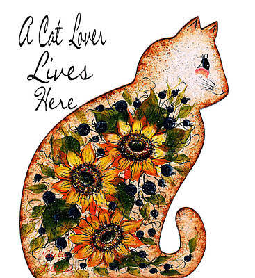Mixed Media - A Cat Lover Lives Here by Natalie Holland