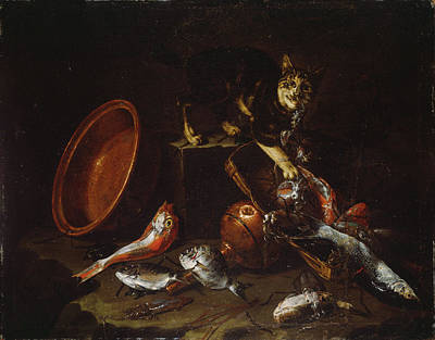 Stealing Painting - A Cat Stealing Fish by Giuseppe Recco