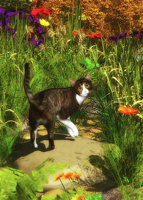 Painting - A Cat Turns Around by Jan Keteleer