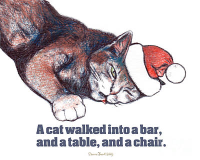 Digital Art - A Cat Walked Into A Bar by Deanna Yildiz
