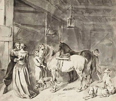 Bid Drawing - A Cavalier Bidding Farewell To A Lady by Hendrick Verschuring
