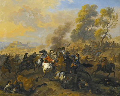 Maas Wall Art - Painting - A Cavalry Battle by Dirk Maas