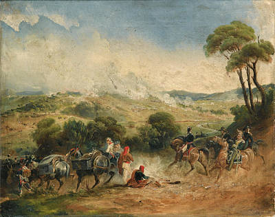 Langlois Painting - A Cavalry Skirmish by Jean-Charles Langlois