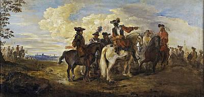 Joseph Parrocel Painting - A Cavalry Skirmish by Joseph Parrocel