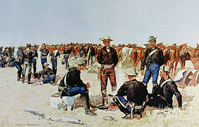 American Food Drawing - A Cavalryman's Breakfast On The Plains by Frederic Remington