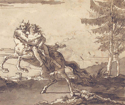 Drawing - A Centaur Abducting A Nymph by Giovanni Domenico Tiepolo
