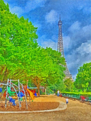 Park Scene Digital Art - A Champ De Mars Playground Near The Eiffel Tower by Digital Photographic Arts