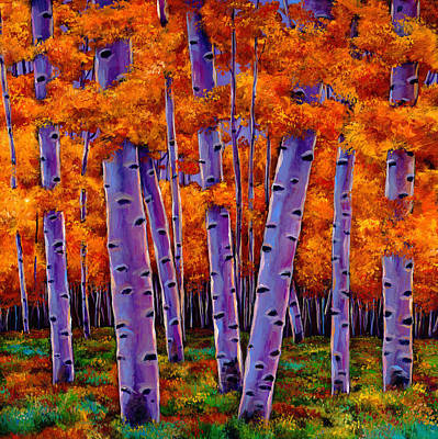 Aspen Tree Painting - A Chance Encounter by Johnathan Harris