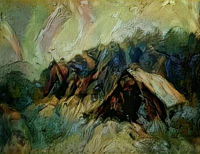 Painting - A Chance In The World Movie Dark Barn Crowded Into A Gully Between A Large Rocky Hill And A Grove Of by Mendyz